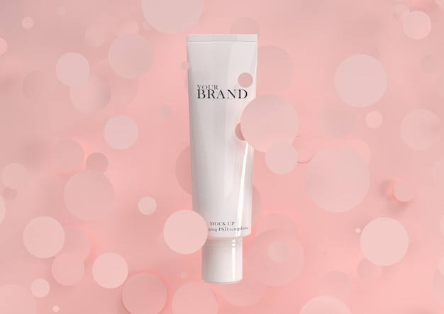 Soins de la peau produits cosmétiques haut de gamme hydratants à surface géométrique.