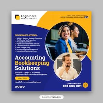 Solutions d'experts en comptabilité et en tenue de livres modèle de conception de publication sur les réseaux sociaux et de bannière web