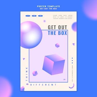 Sortez le modèle d'affiche de concept de boîte
