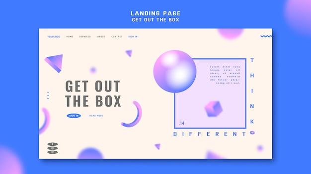 Sortez le modèle de page de destination de la boîte