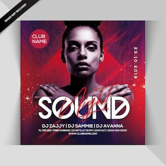 Sound night dj party flyer