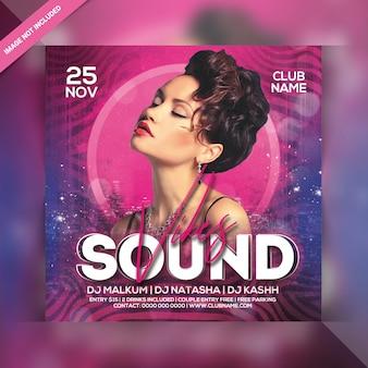 Sound vibes party flyer carré