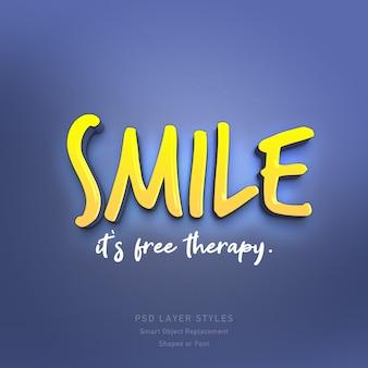 Sourire, citation de thérapie gratuite, effet de style de texte 3d psd
