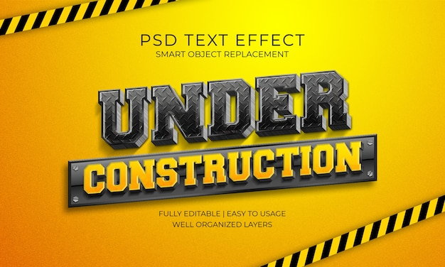 Sous le modèle d'effet de texte de construction