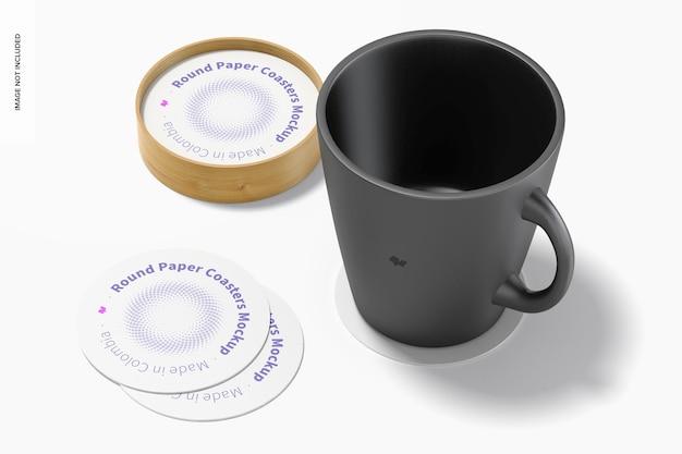 Sous-verres ronds en papier avec maquette de tasse