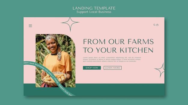 Soutenir la page de destination des entreprises locales