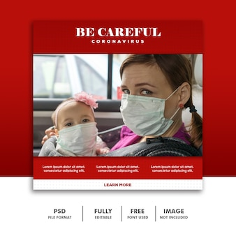 Soyez prudent modèle de bannière de médias sociaux instagram maman et bébé avec masque coronavirus