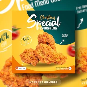 Spécial noël burger food menu promotion médias sociaux modèle de bannière de publication instagram