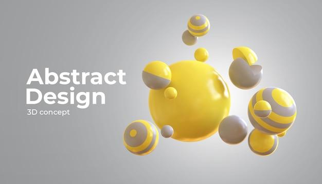 Sphères Fluides 3d Avec La Couleur De L'année Avec Des Formes Géométriques 3d PSD Premium