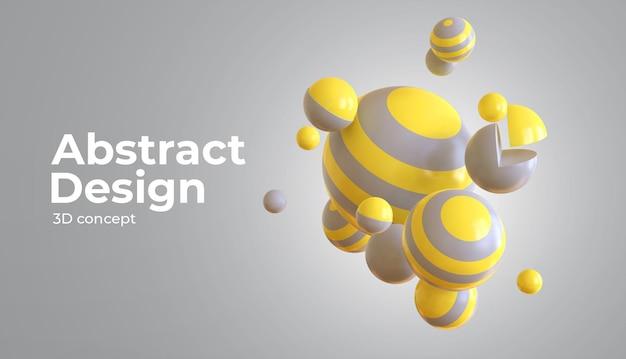 Sphères fluides 3d avec la couleur de l'année avec des formes géométriques 3d