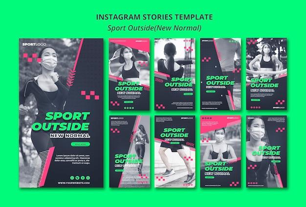 Sport extérieur concept histoires instagram