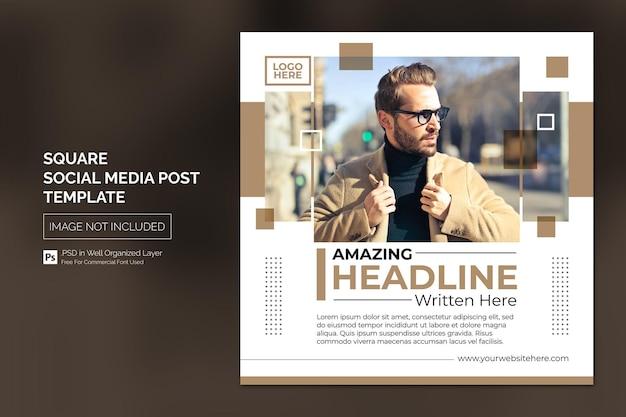 Square social media instagram post ou modèle de bannière web avec headline design concept