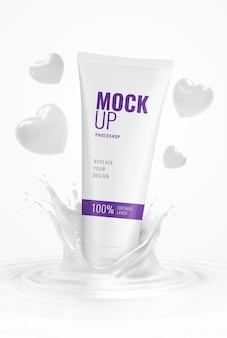Squeeze tube cosmétique publicité valentine