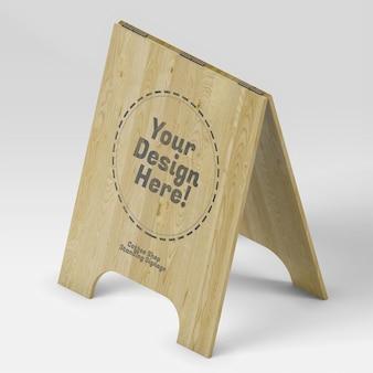 Stand de panneau ouvert de café dans la maquette isométrique de matériau en bois