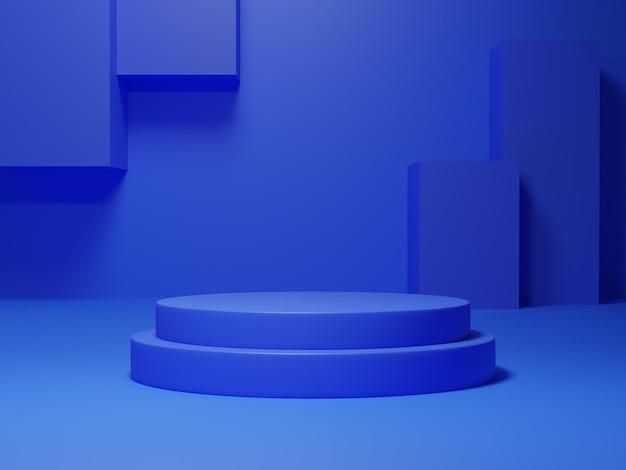 Stand de produit bleu rendu 3d