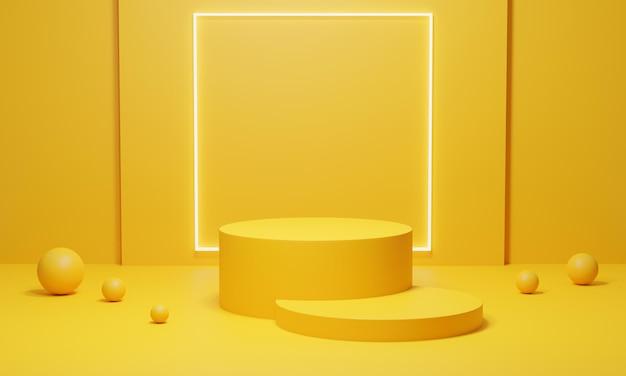 Stand de produit jaune rendu 3d