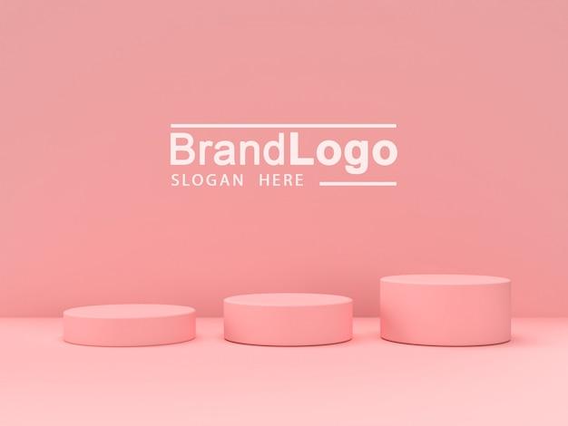 Stand de produit pastel rose sur fond. abstrait, géométrie minimale, concept., 3d, rendre