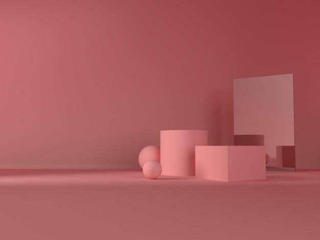 Stand de produit pastel rose sur fond. concept abstrait de géométrie minimale