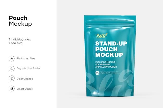 Stand up pouch avec maquette de fermeture à glissière isolée
