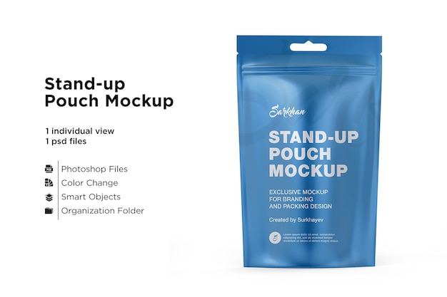 Stand up pouch mockup isolé