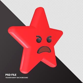 Star emoji rendu 3d visage en colère isolé