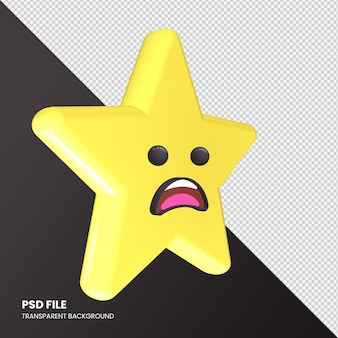 Star emoji rendu 3d visage fronçant les sourcils avec bouche ouverte isolée