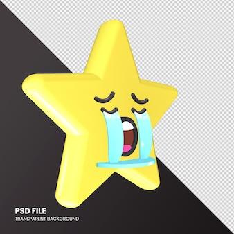 Star emoji rendu 3d visage pleurant fort isolé