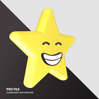 Star emoji rendu 3d visage rayonnant avec des yeux souriants isolés