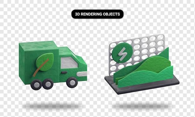 Statistiques de transport écologique et de consommation d'énergie de rendu 3d