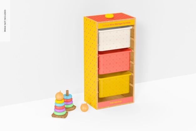 Stockage de bacs verticaux pour enfants avec maquette murale