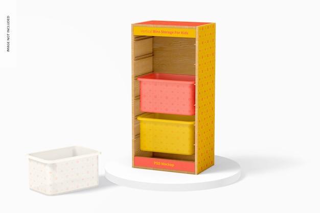 Stockage de bacs verticaux pour maquette pour enfants, vue de droite