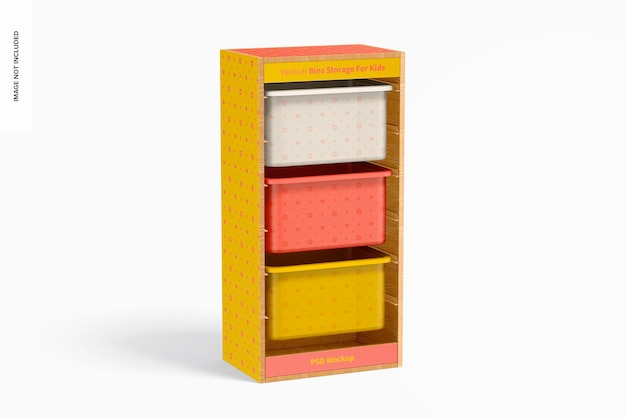 Stockage de bacs verticaux pour maquette pour enfants, vue de gauche