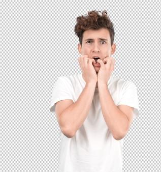 Stressé jeune homme se ronger les ongles