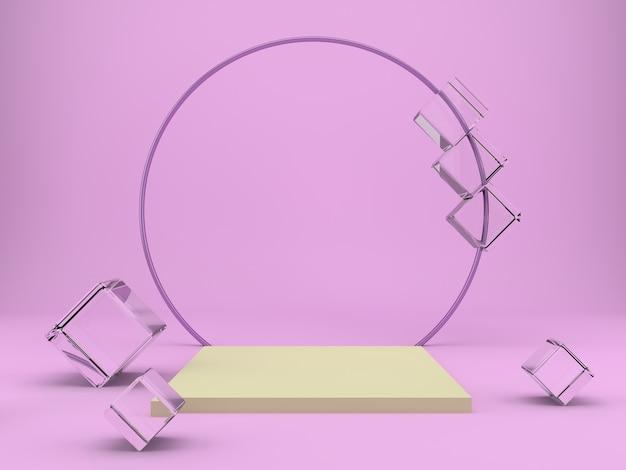 Studio avec formes géométriques et podium pour le rendu de présentation des produits