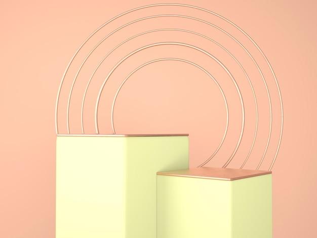 Studio de rendu 3d aux formes géométriques, podium au sol. plateformes de présentation de produits, arrière-plan maquette.