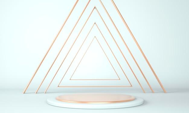 Studio de rendu 3d aux formes géométriques, podium au sol.