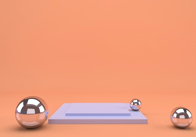 Studio de rendu 3d avec des formes géométriques et podium sur le sol