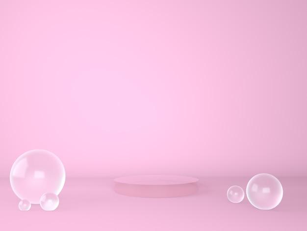 Studio de rendu 3d avec des formes géométriques de podium sur le sol