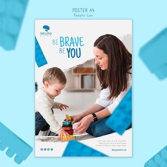 Style d'affiche de concept de soins pédiatriques