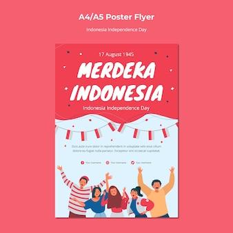 Style d'affiche du jour de l'indépendance de l'indonésie