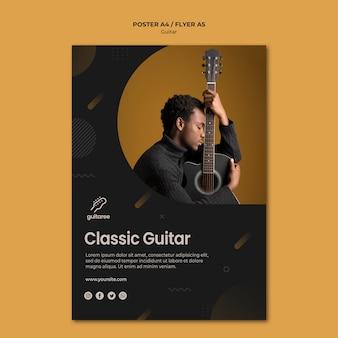 Style d'affiche de joueur de guitare