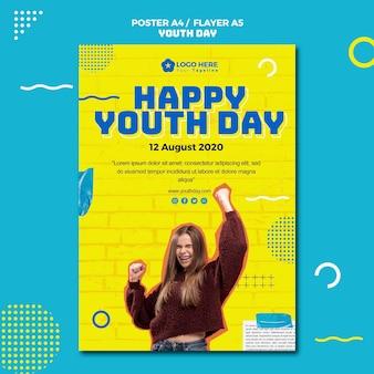 Style d'affiche de la journée de la jeunesse