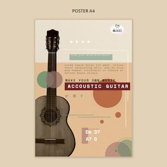 Style d'affiche de leçons de guitare acoustique
