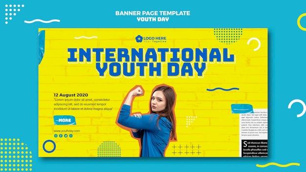 Style de bannière d'événement de la journée de la jeunesse