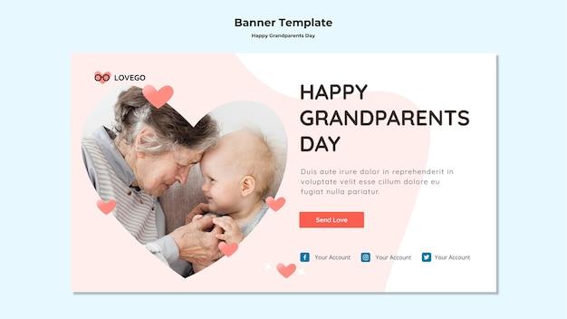 Style de bannière de jour de grands-parents heureux