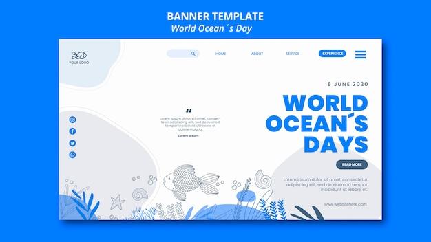 Style de bannière de la journée mondiale de l'océan