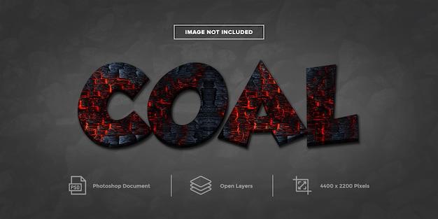 Style de calque de conception d'effet de texte de charbon
