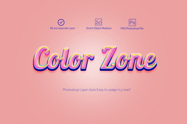 Style de calque photoshop coloré 3d