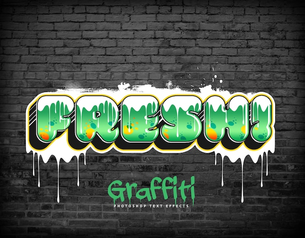 Style de calque psd d'effets de texte graffiti