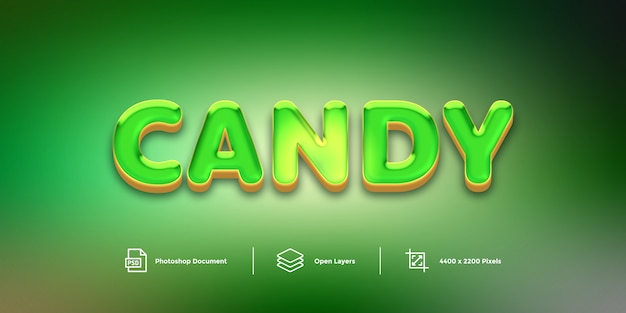 Style de couche de conception d'effet de texte candy